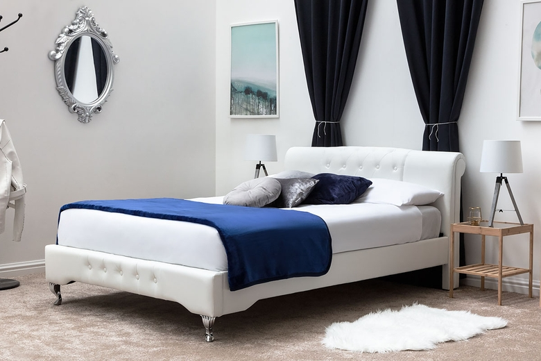 Knightsbrook White Faux Leather Contemporary Designer Bed Frame - Double / King Size