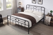 Lyndhurst Victorian Style Hammered Effect Black Metal Bed Frame Double / King Size