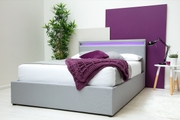 Stanlake LED Headboard Grey Fabric Storage Ottoman Bed Frame Single / Double / King