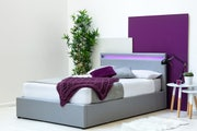 Stanlake LED Headboard Grey Fabric Ottoman Storage Double Bed Frame