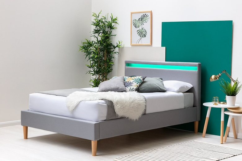Wentworth LED Headboard Grey Fabric Bed Frame Single / Double / King
