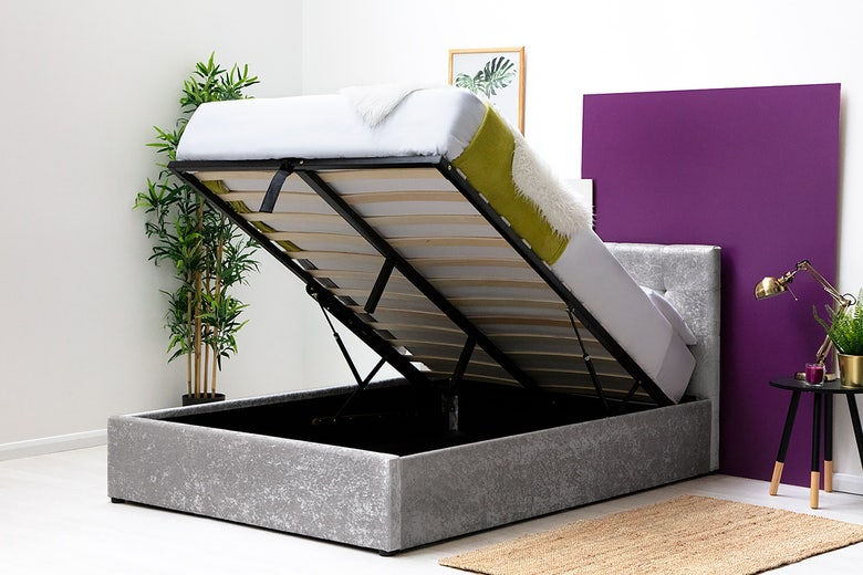 Lowther Silver Crushed Velvet Ottoman Storage King Size Bed Frame