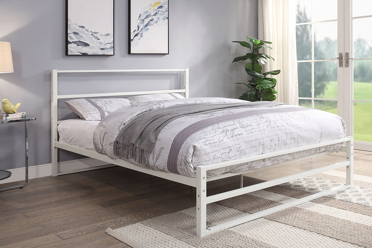 Hartfield Modern White Metal Bed Frame Single Small Double Double King Size Crazypricebeds Com