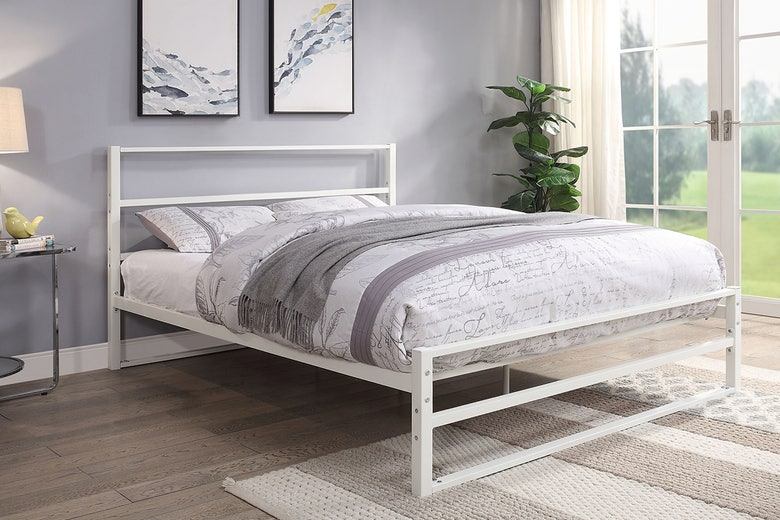 Hartfield White Metal Double Bed Frame