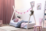 Tent / Teepee Style White Pine Wooden Kids Bed Frame - Single