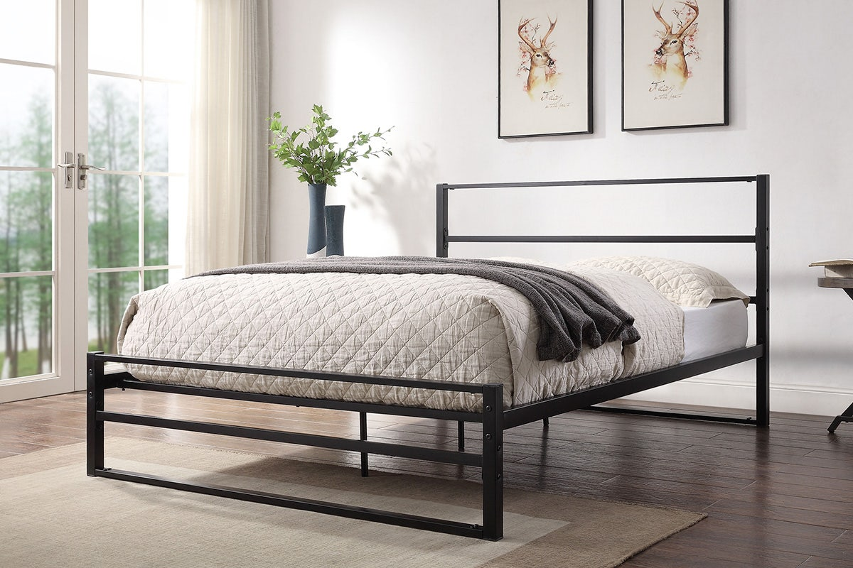 Hartfield Modern Black Metal Bed Frame Single Small Double Double King Size Crazypricebeds Com