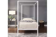 Chalfont White Four Poster Metal Single Size Bed Frame