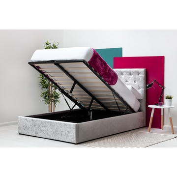 Parwich Silver Crushed Velvet Storage Ottoman Bed Frame Double/King Sizes