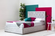 Parwich Silver Crushed Velvet Ottoman Storage Double Bed Frame