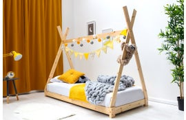 Tent / Teepee Style Natural Pine Wooden Kids Bed Frame - Single