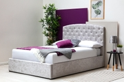 Sedgwick Silver Crushed Velvet Ottoman Storage Double Bed Frame
