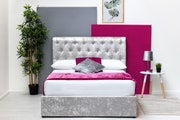 Thorpe Crushed Velvet Chesterfield Style Storage King Size Bed Frame