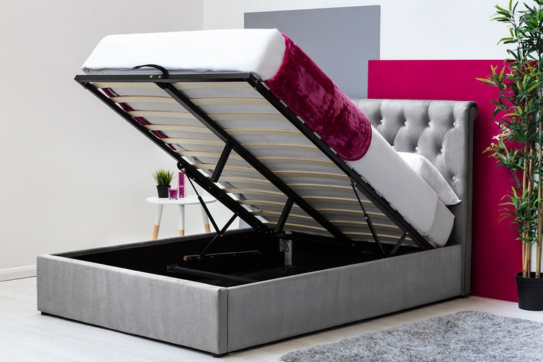Thorpe Grey Velvet Chesterfield Style Storage Double Bed Frame