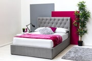 Thorpe Grey Velvet Chesterfield Style Storage King Size Bed Frame