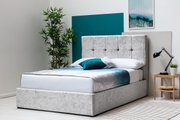 Horwood Silver Crushed Velvet Ottoman Storage Bed Frame Double/King Sizes