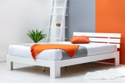 Broxton Low Platform White Wooden Double Bed Frame