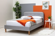 Bisham Contemporary Grey Fabric Upholstered Bed Frame Single / Double / King Sizes