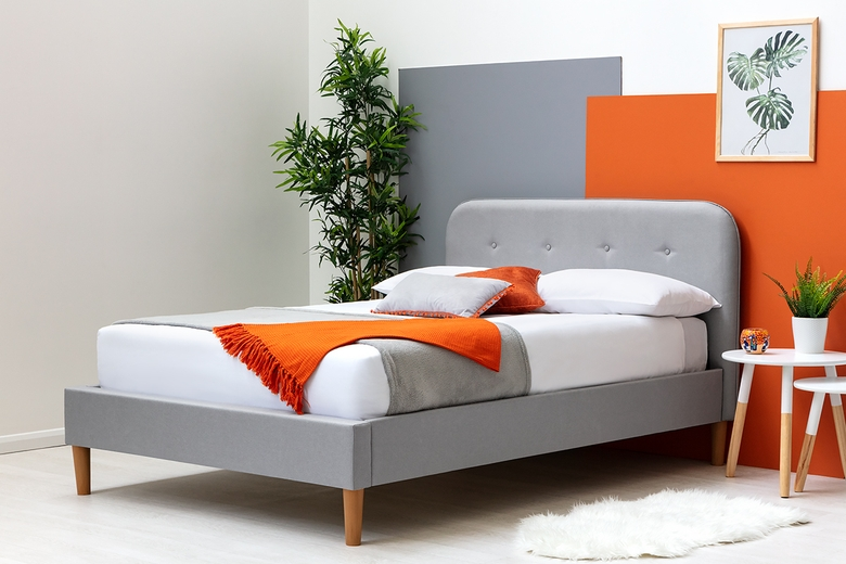 Bisham Contemporary Grey Fabric Upholstered King Size Bed Frame