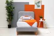Bisham Contemporary Grey Fabric Upholstered Single Bed Frame