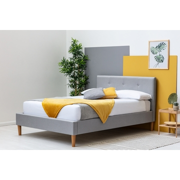 Wootton Modern Grey Fabric Bed Frame Single / Double / King Sizes