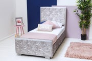 Beaumont Diamante Silver Crushed Velvet Single Bed Frame With Under Storage