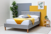 Wootton Modern Grey Fabric Double Bed Frame