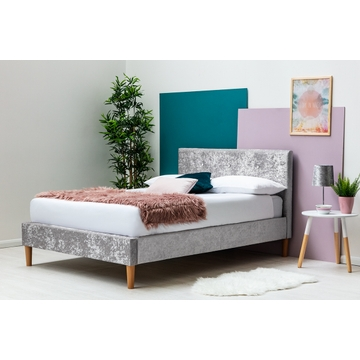 Wootton Modern Silver Crushed Velvet Bed Frame Single / Double / King Sizes