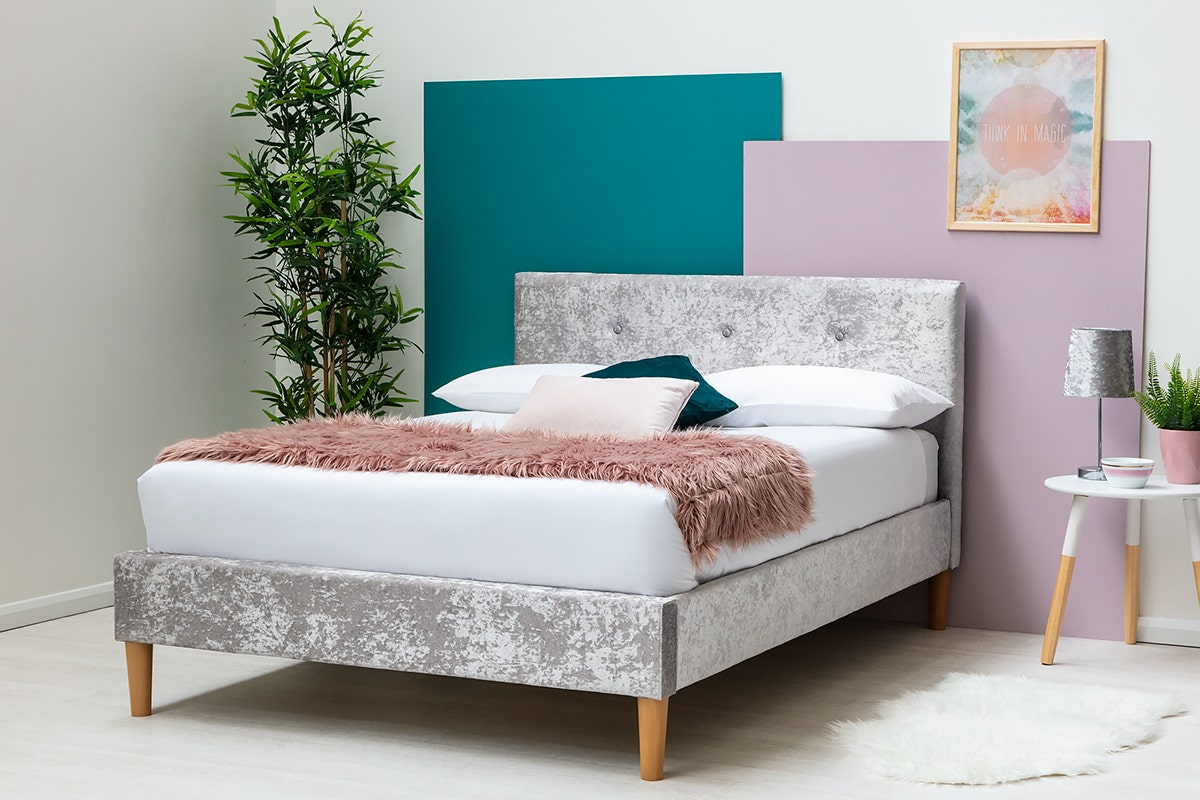 Wootton Modern Silver Crushed Velvet Bed Frame Single Double King Sizes Crazypricebeds Com