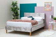 Wootton Modern Silver Crushed Velvet Double Bed Frame