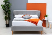 Chatwell Modern Winged Headboard Grey Fabric Double Bed Frame