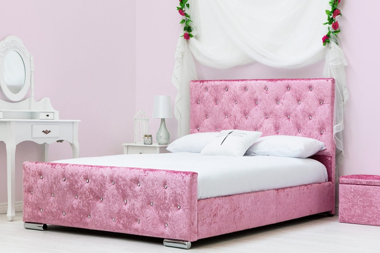 Beaumont Diamante Pink Crushed Velvet Upholstered Bed Frame - Double