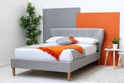 Chatwell Modern Winged Headboard Grey Fabric King Size Bed Frame