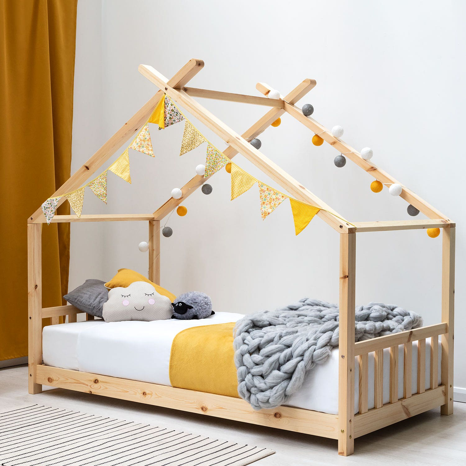 Kids Pine Wooden House Style Canopy Bed Frame Single 3ft Crazypricebeds Com