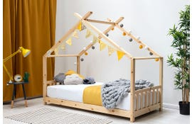 Kids Pine Wooden House Canopy Bed Frame Single Size