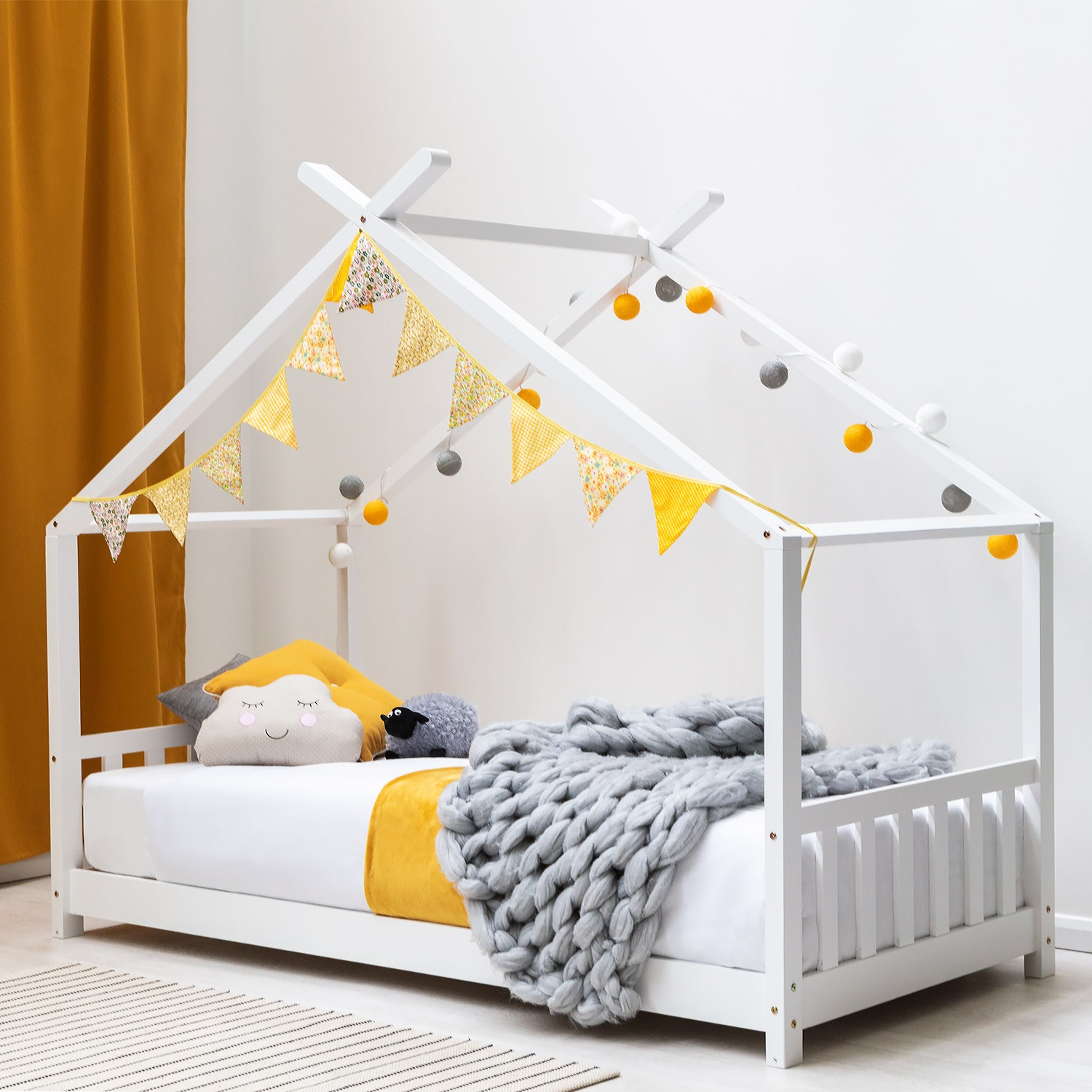 Tent Tipi Style Kids Childrens Bed 3ft Single Size White or Pine Solid Wood