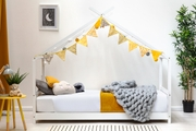 Kids White Wooden House Canopy Bed Frame Single Size