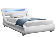 Barcelona White Faux Leather LED Low Modern Bed Frame Single / Double / King Sizes