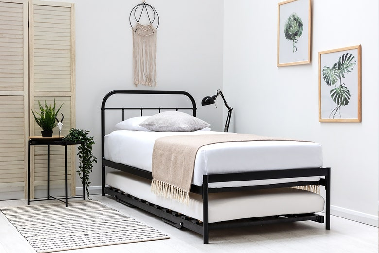 Bourton Black Single Metal Bed Frame with Guest Bed Trundle