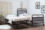 Cambridge Industrial Style Single Metal Bed Frame with Guest Bed Trundle
