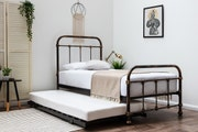 Burford Black & Brass Antique Style Single Metal Bed Frame with Guest Bed Trundle