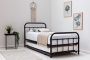 Henley Black Single Metal Bed Frame with Guest Bed Trundle