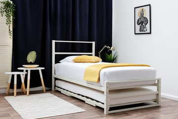Hartfield White Single Metal Bed Frame with Guest Bed Trundle