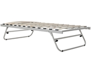 White Fold Away Metal Trundle Guest Bed Frame Single Size