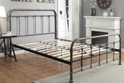 Burford Rustic Antiqued Victorian Hospital Style Metal Bed Frame