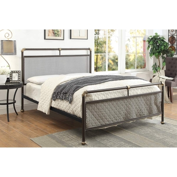 Cambridge Industrial Scaffold Rustic Brown Metal Bed Frame - Single / Double / King Size