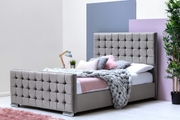 Dalkeith Diamante Grey Velvet Upholstered Bed Frame - Double / King Size