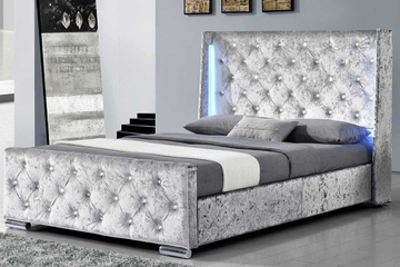 Dorchester Silver Crushed Velvet LED Lights Winged Bed Frame - Double / King Size
