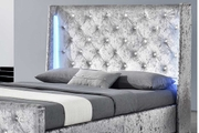 Dorchester LED Lights Silver Crushed Velvet Fabric Winged Double Bed