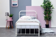 Henley White Metal Victorian Hospital Dorm Style Single Bed Frame