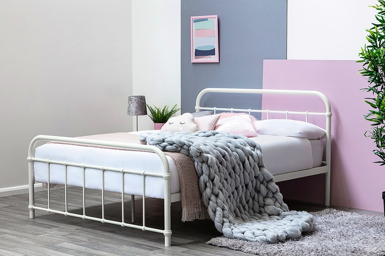 Henley White Metal Victorian Hospital Dorm Style Double Bed Frame